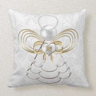 Perlas y oro - ángel metálico del navidad de la cojín