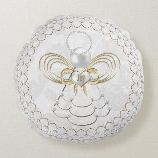 Perlas y oro - ángel metálico del navidad de la cojín redondo