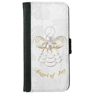 Perlas y oro - ángel metálico del navidad de la funda cartera para iPhone 6