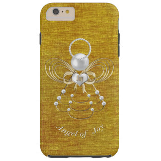 Perlas y oro - ángel metálico del navidad de la funda para iPhone 6 plus tough