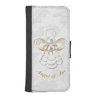 Perlas y oro - ángel metálico del navidad de la funda tipo cartera para iPhone 5