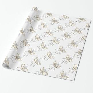 Perlas y oro - ángel metálico del navidad de la papel de regalo