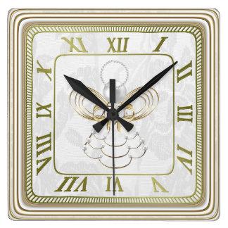Perlas y oro - ángel metálico del navidad de la reloj cuadrado