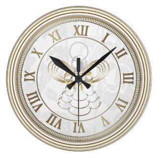 Perlas y oro - ángel metálico del navidad de la reloj redondo grande