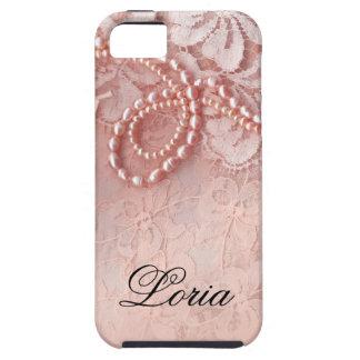 Perlas y rosa del peony de la firma el | del cordó iPhone 5 Case-Mate protectores