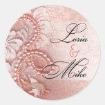Perlas y rosa del peony del favor el | del cordón pegatinas