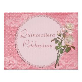 """Perlas y rosas elegantes lamentables Quinceanera Invitación 4.25"""" X 5.5"""""""