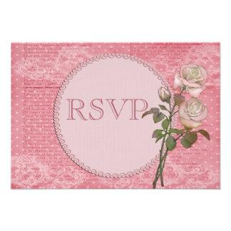 Perlas y rosas elegantes lamentables RSVP del cord Anuncio Personalizado