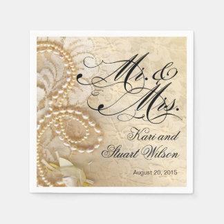 Perlas y Sr. y señora marfil del cordón del | Servilleta Desechable