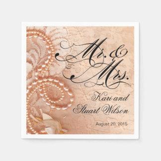 Perlas y Sr. y señora melocotón del cordón del | Servilleta Desechable