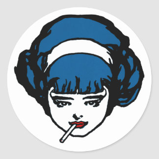 Perley French Girl Blue Pop Icon Vintage Retro Classic Round Sticker