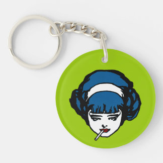 Perley French Girl Blue Pop Icon Vintage Retro Single-Sided Round Acrylic Keychain
