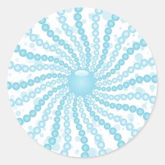 Perls - azul pegatina redonda