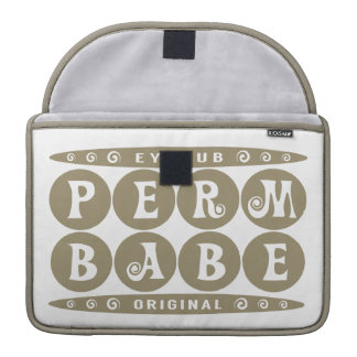 PERM BABE - I Love My Cute Curly Hairstyle, Gold Sleeve For MacBook Pro