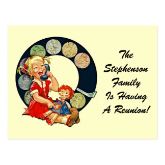 Permanecer-En-Tacto retro de la reunión de familia Postal