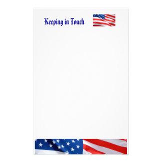 Permaneciendo en contacto, bandera americana papeleria