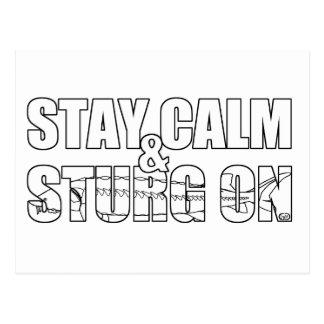 Permanezca la calma y Sturg encendido - lago Sturg Tarjetas Postales