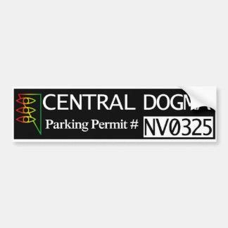 Permiso central del estacionamiento del dogma pegatina de parachoque