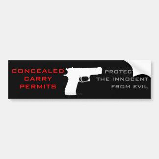 Permiso de la arma de mano etiqueta de parachoque