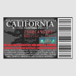Permiso de la caza del zombi de California Pegatina Rectangular