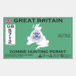 Permiso de la caza del zombi de Gran Bretaña Rectangular Pegatina