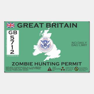 Permiso de la caza del zombi de Gran Bretaña Pegatina Rectangular