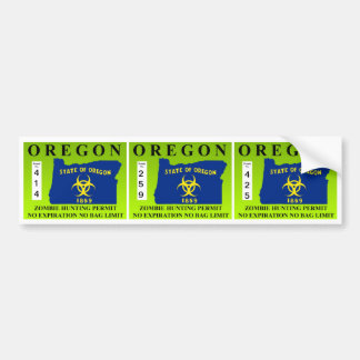Permiso de la caza del zombi de Oregon Etiqueta De Parachoque