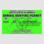 Permiso de la caza del zombi pegatina rectangular