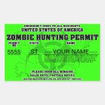 Permiso de la caza del zombi (verde claro) pegatina rectangular