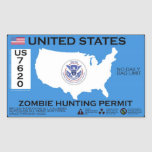 Permiso de la caza del zombi - ZETA Pegatinas