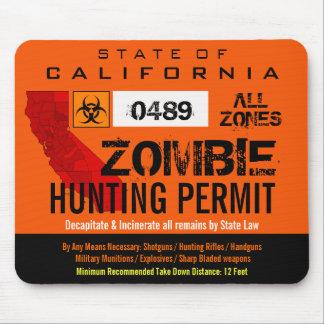 Permiso Mousemat de la caza del zombi Alfombrilla De Ratones