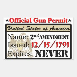 ¡Permiso oficial del arma! Rectangular Pegatina