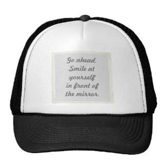 Permission to smile at yourself hats