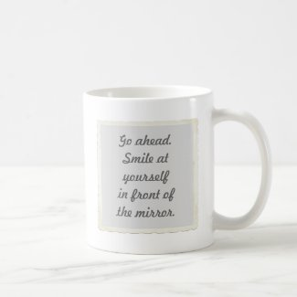 Permission to smile at yourself mugs
