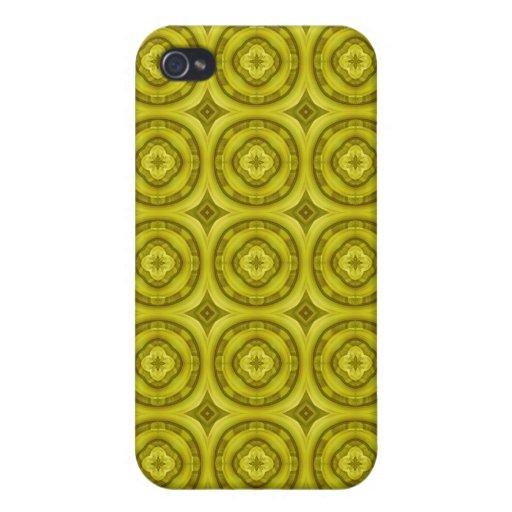 Pern de madera abstracto amarillo iPhone 4/4S carcasa