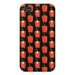 Pern de pimientas rojas, en negro iPhone 4 cárcasa