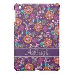 Pern floral púrpura retro
