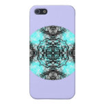 Pern in Turquoise and Black, on Lilac Purple. Cover For iPhone 5