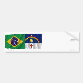 Pernambuco & Brazil Waving Flags Bumper Sticker