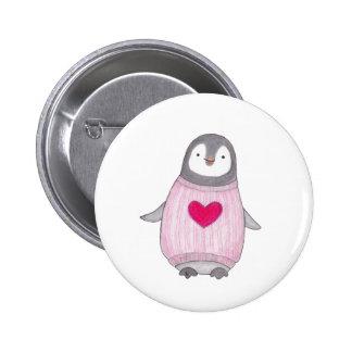Perno adorable del Pin-detrás del pingüino del Pin Redondo De 2 Pulgadas