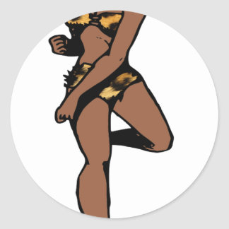 perno africano del estampado leopardo para arriba pegatina redonda