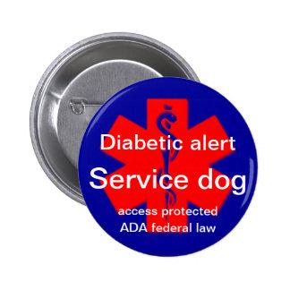 Perno alerta diabético del perro del servicio pin redondo de 2 pulgadas