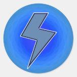 Perno azul etiqueta redonda