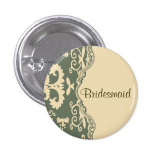 Perno beige verde de la dama de honor del boda del pin redondo 2,5 cm