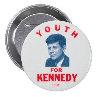 Perno conmemorativo 1958 de JFK Pin Redondo De 3 Pulgadas