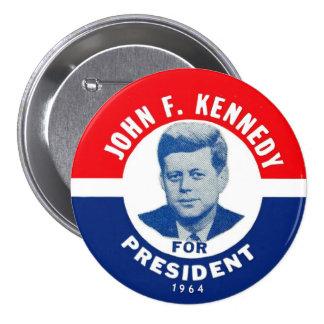 Perno conmemorativo 1964 de JFK Pin Redondo De 3 Pulgadas