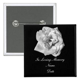 Perno de la memoria del rosa blanco pin cuadrado