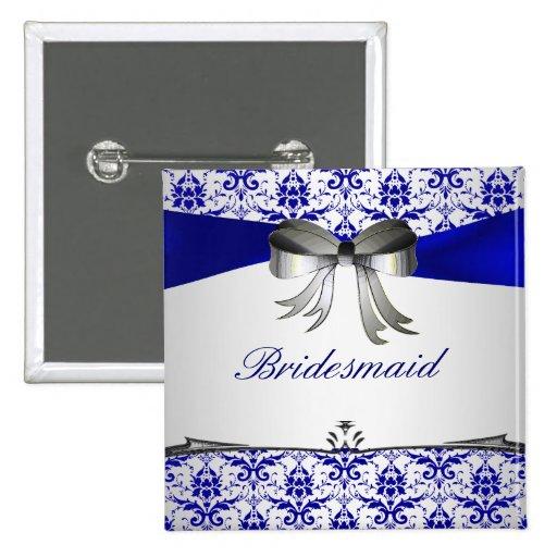 Perno de plata azul adornado del botón del banquet pin cuadrado