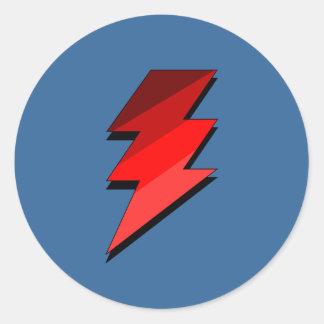 Perno de trueno azul del relámpago pegatina redonda