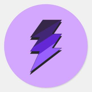 Perno de trueno púrpura del relámpago pegatina redonda